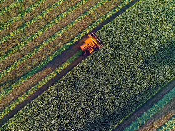 Aerial view of agricultural field being plowed