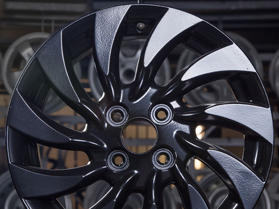 Black resin coated wheel