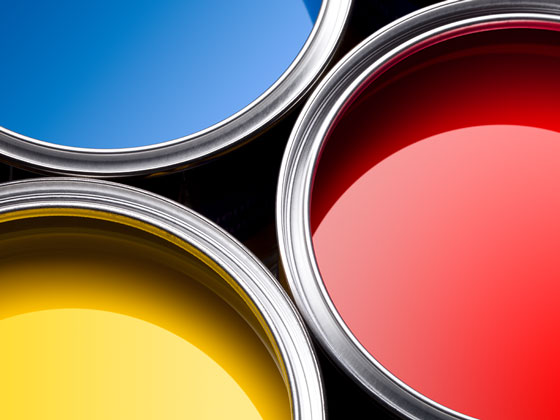 Close up of blue, red, and yellow paint