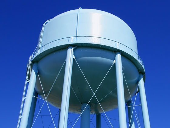 Close up of epoxy-coated water tower
